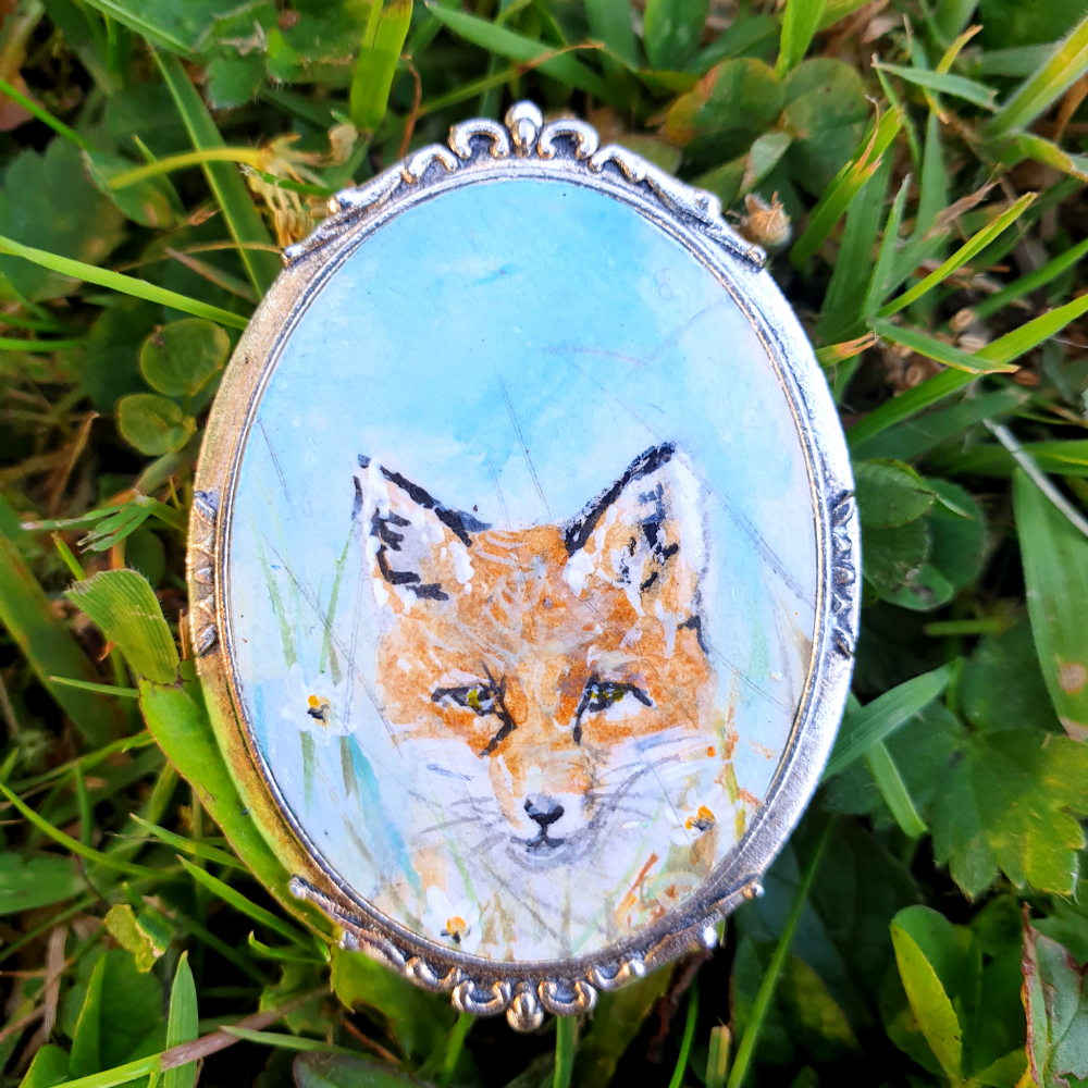 Hand Painted Original Fox Brooch